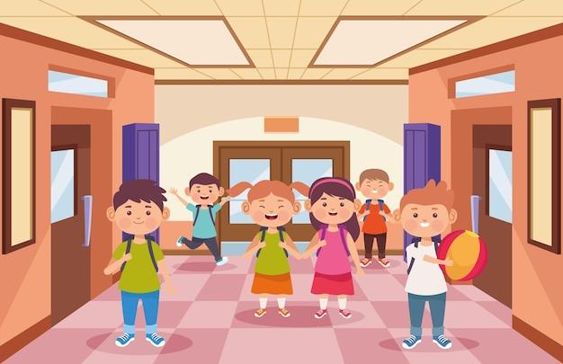 Ilustracja korytarza szkoły uczniów