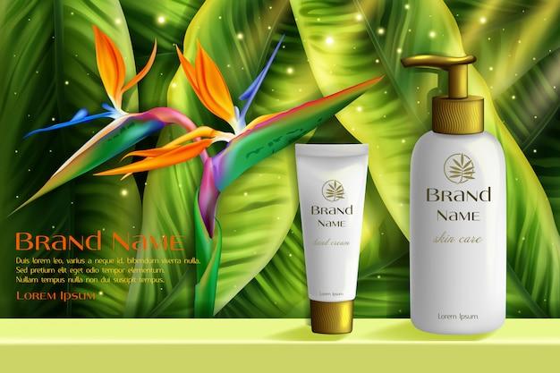 Ilustracja kosmetyki do pielęgnacji skóry. realistyczne 3d modne białe butelki z balsamem do pielęgnacji skóry ciała, kremem do rąk, otoczone zielonymi liśćmi naturalnych kwiatów tropikalnych, tło kosmetologii promocji