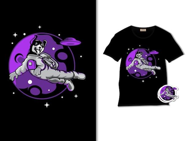 Ilustracja kosmicznego psa z projektem koszulki