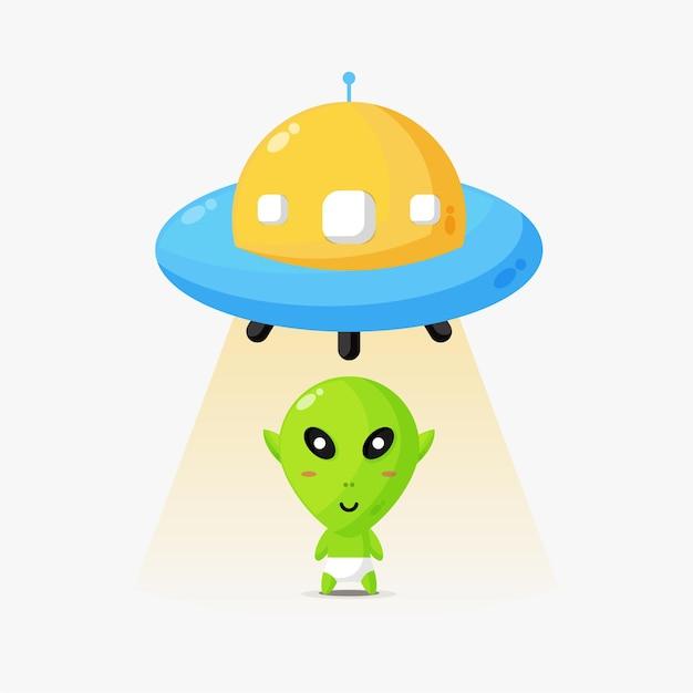 Ilustracja kosmitów i ufo