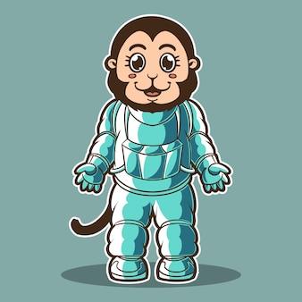 Ilustracja kostium małpa astronauta