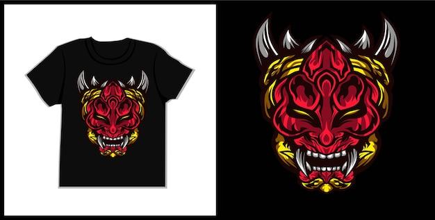 Ilustracja koszulki oni potwora maska