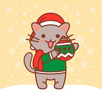 Ilustracja kot boże narodzenie kula