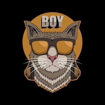 Ilustracja kot chłopiec słuchawki
