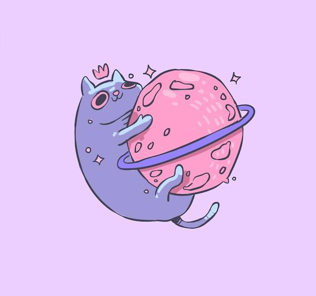 Ilustracja kot i planeta
