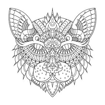 Ilustracja kot, mandala zentangle w liniowej kolorowanka