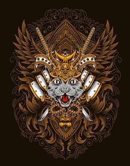 Ilustracja kot samuraj głowy z rocznika grawerowanie ornament