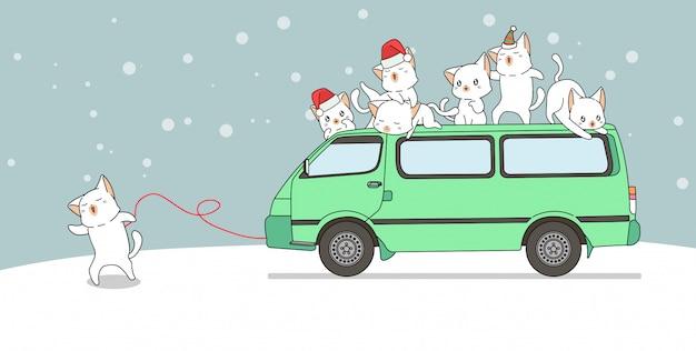 Ilustracja kota przeciąganie samochód dostawczy z przyjaciółmi
