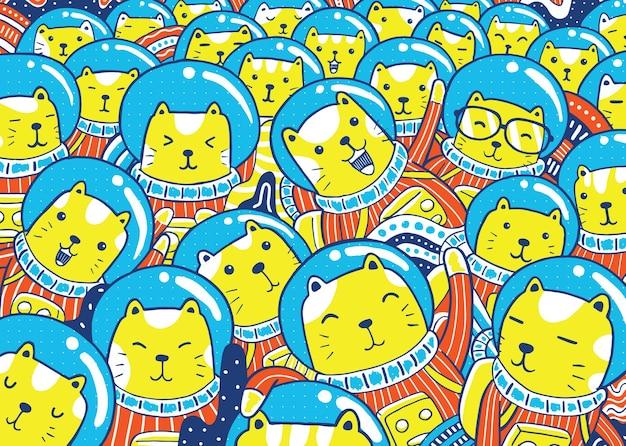 Ilustracja kotów astronautów w stylu kreskówki