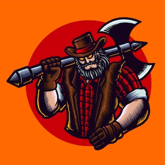 Ilustracja kowboj drwal z siekierą, kapeluszem, kurtką.