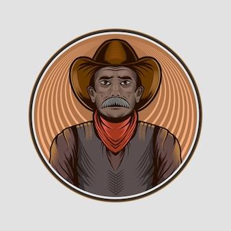Ilustracja kowboj stary avatar avatar na białym tle koło