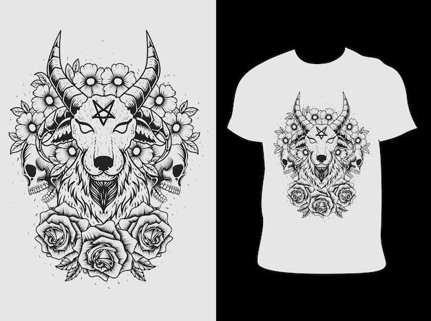 Ilustracja koza diabeł z czaszką dlower wzór