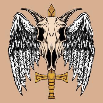 Ilustracja koza skrzydła czaszki