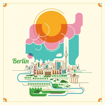 Ilustracja krajobraz berlin