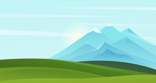 Ilustracja krajobraz górski lato. kreskówka górzysty naturalny prosty krajobraz tło z zieloną trawą malownicze pola na wzgórzach i górach na horyzoncie, słoneczna scena natury latem