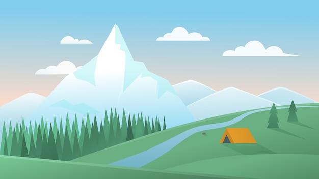 Ilustracja krajobraz górski lato. kreskówka spokojna górska przyroda z namiotem turystycznym obozującym na wzgórzu zielonej łące, lasem sosnowym i rzeką, naturalne letnie tło