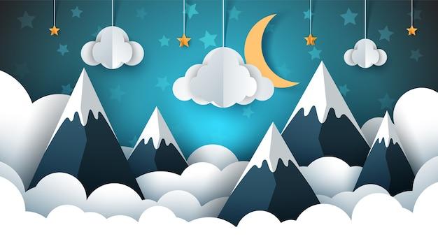Ilustracja krajobraz górski papier. chmura, gwiazda, księżyc, niebo.
