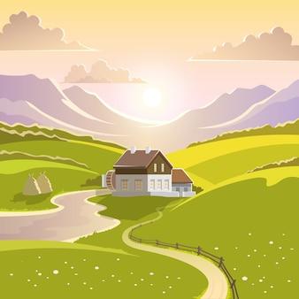Ilustracja krajobraz górski