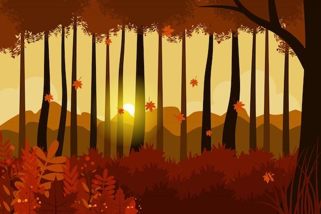 Ilustracja krajobraz jesień