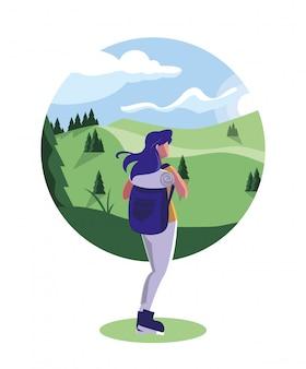 Ilustracja krajobraz las z podróżnikiem wędrować