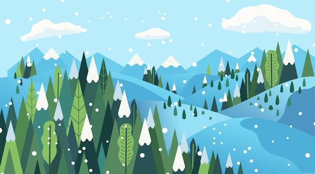 Ilustracja krajobraz lasu w okresie zimowym, ilustracja płaski obraz wakacje zima.