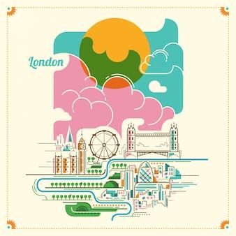 Ilustracja krajobraz londynu