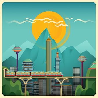 Ilustracja krajobraz miasta