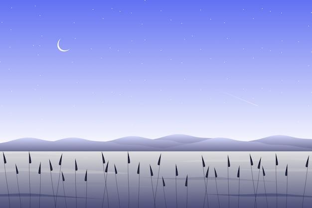 Ilustracja krajobraz niebo i morze