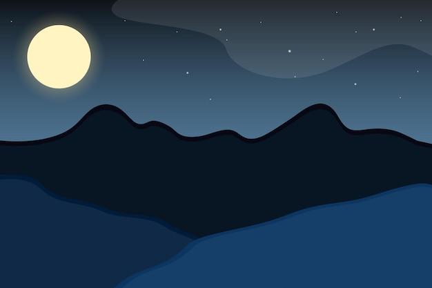 Ilustracja krajobraz nocny. prosta minimalistyczna sylwetka krajobrazu
