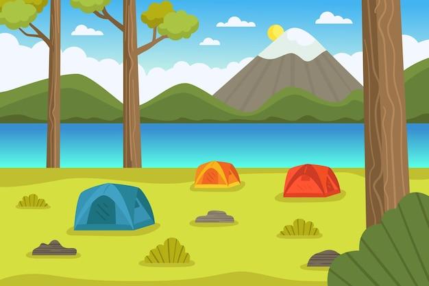 Ilustracja krajobraz obszaru kempingowego z namiotami