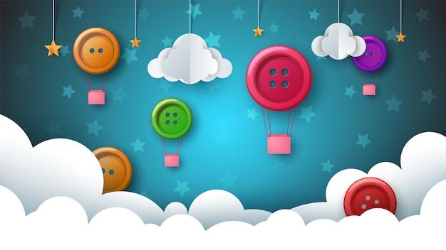 Ilustracja krajobraz papieru. balon, przycisk do szycia, chmury, gwiazdy, niebo.