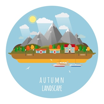 Ilustracja krajobraz płaskiej jesieni z chmurami, drzewami i mewami. słońce i niebo, góry i jesień
