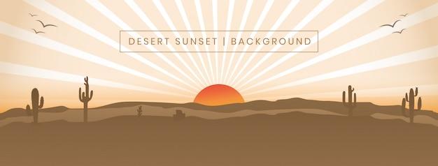 Ilustracja krajobraz pustyni zachód słońca