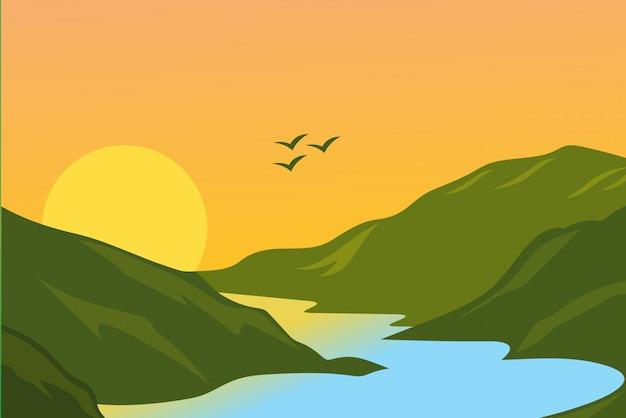 Ilustracja krajobraz tła
