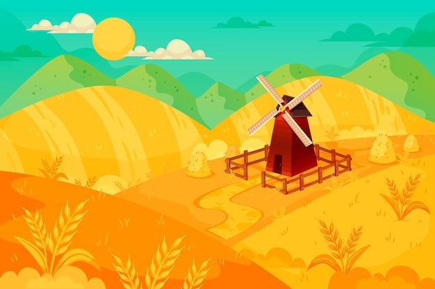 Ilustracja krajobraz wsi