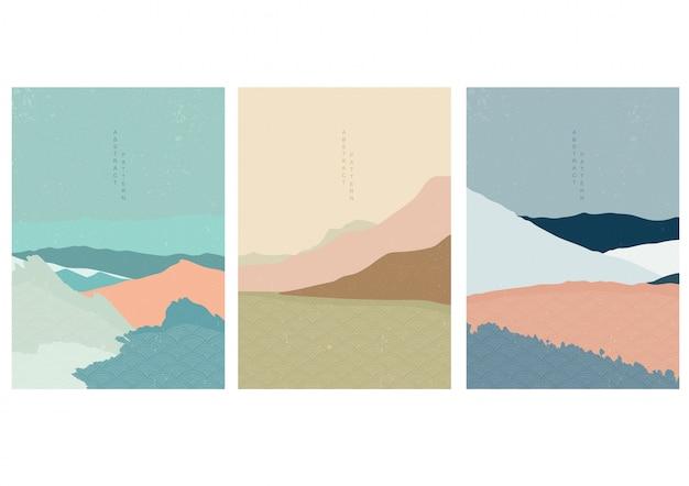 Ilustracja krajobraz z japońskim stylem fali. streszczenie górski projekt w stylu orientalnym.