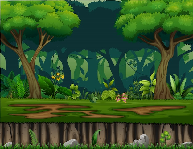 Ilustracja krajobraz z krzaków drzewami