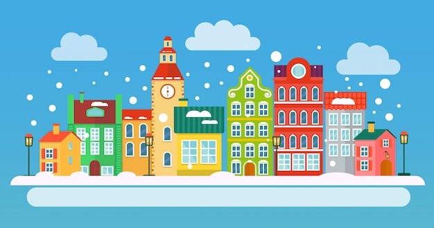 Ilustracja krajobraz zimowy boże narodzenie