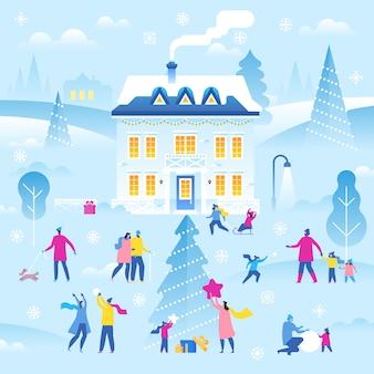 Ilustracja krajobraz zimowy