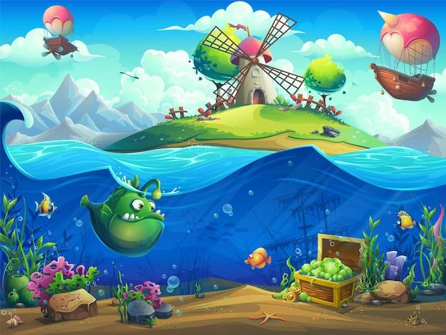 Ilustracja krajobraz życia morskiego