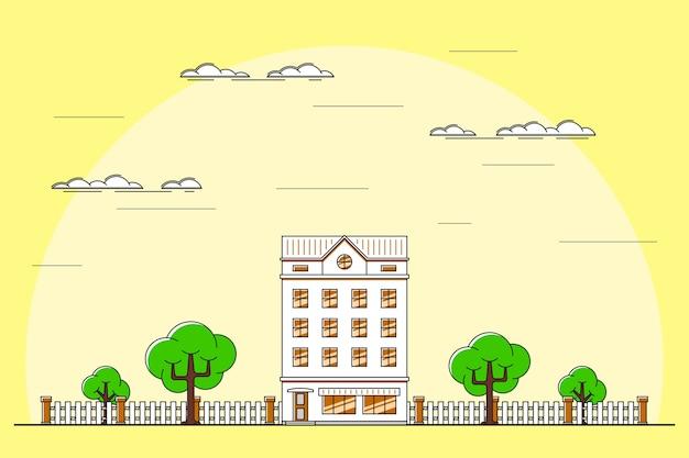 Ilustracja krajobrazu miasta z kamienicą, drzewami, latarnią. ławka i chmury. l