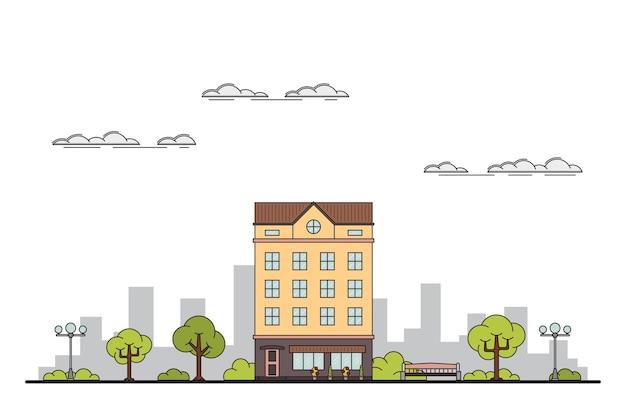 Ilustracja krajobrazu miasta z kamienicą, drzewami, latarnią. ławka i chmury.