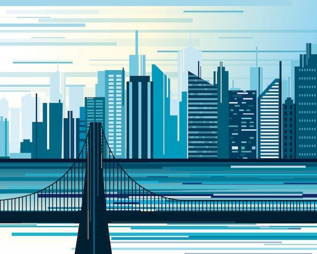 Ilustracja krajobrazu miejskiego miasta. duże nowoczesne miasto z mostem i drapaczami chmur w stylu płaskiej kreskówki abstrakcji.