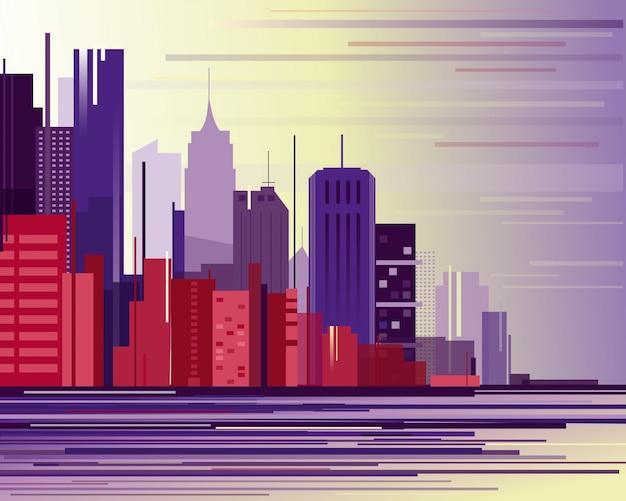 Ilustracja krajobrazu miejskiego miasta przemysłowego. duże nowoczesne miasto z drapaczami chmur w stylu płaskiej kreskówki abstrakcji.