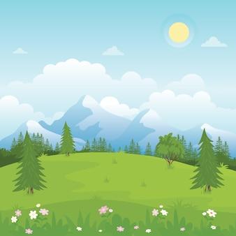 Ilustracja krajobrazu wiejskiego