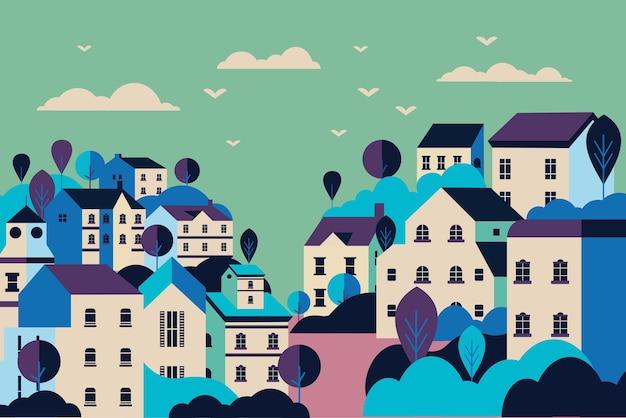 Ilustracja krajobrazu wsi płaska