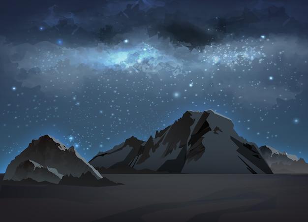 Ilustracja krajobrazu z niebieską drogą mleczną w górach na nocnym niebie z gwiazdami. tło kosmiczne z galaktyką i wysokimi skałami, szczytami i grzbietami