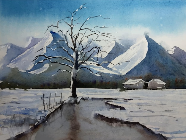 Ilustracja krajobrazu z widokiem na góry w sezonie zimowym