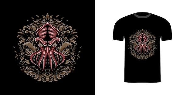 Ilustracja Kraken Z Grawerowanym Onamentem Na Projekt Koszulki Premium Wektorów