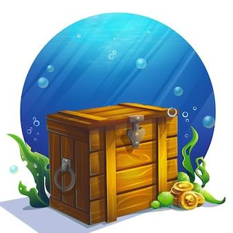 Ilustracja kreatywna zamknięta drewniana stara kwadratowa ilustracja klatki piersiowej